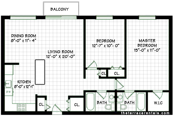 Elk grove village apartments 2 bedroom apartment floorplan for Two unit apartment plans